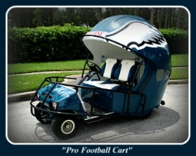Custom Golf Carts - Eagles Football Helmet Golf Car